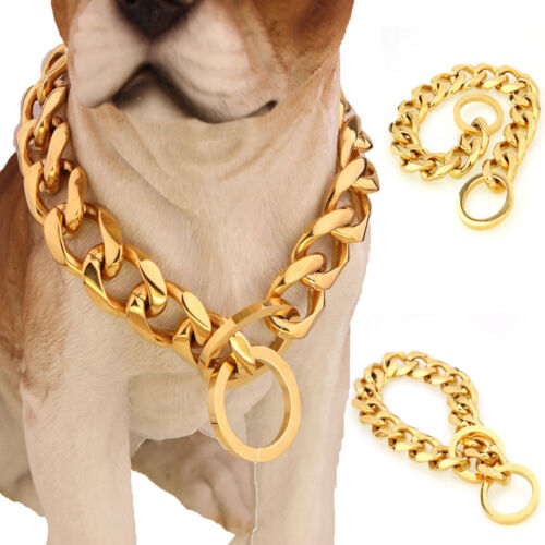13mm Silver Gold Chain Dog Necklace Pet Collar Curb Link 316
