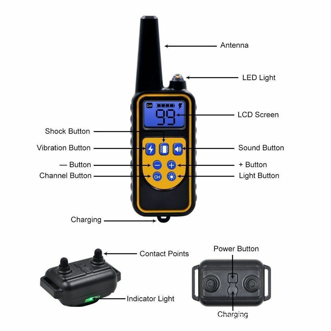 Waterproof Dog Training Electric Collar Rechargeable Remote Control 875 Yards 1