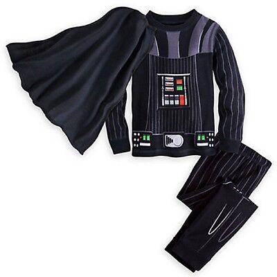 Darth Vader Pajama Costume PJ Pals Star Wars Disney Detachable Cape Size 5 NWT
