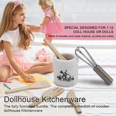 Dollhouse Miniature Kitchenware Set Fork Metal Whisk Jar Set