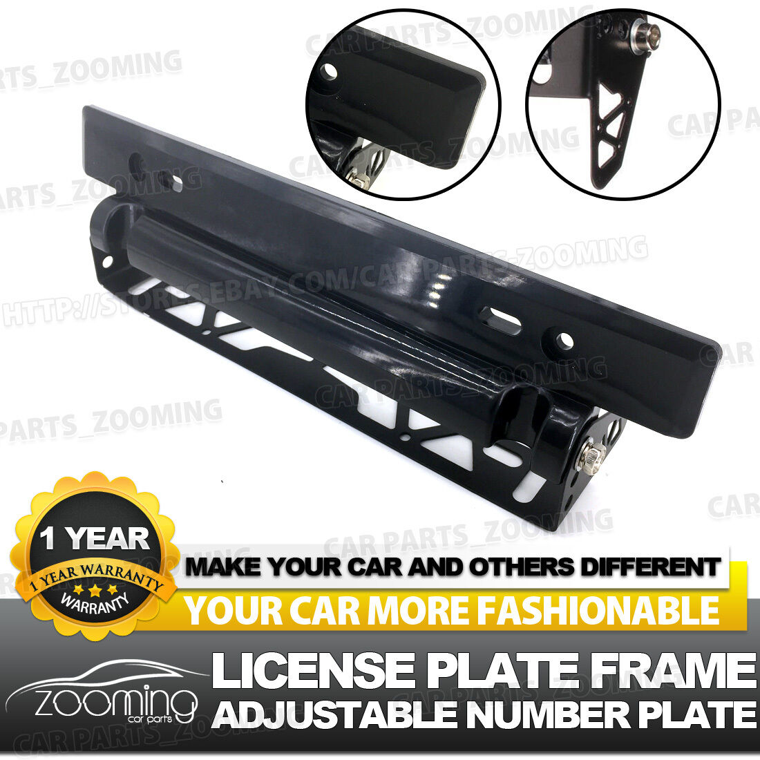 2 X Black Carbon Style License Plate Holder Cover Frame Front Or Rear Universal