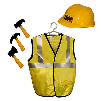Kids Construction Worker Vest Hat And Accessories Set Pretend Play Costume - Play Construction Hats