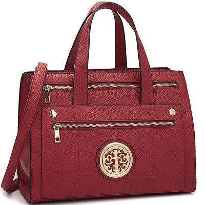 Dasein Fashion Women Handbag Faux Leather Work Satchel Tote Bag Medium Purse - Gold Purse