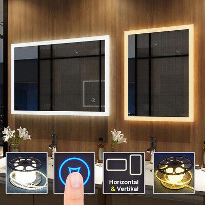 Badspiegel mit LED Beleuchtung Touch Wandspiegel Badezimmerspiegel Lichtspiegel online kaufen