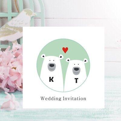 Polar Bear Invitations (Polar Bear Wedding Invitations - Personalised with Initials - FREE Framed)