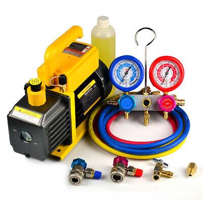 FAVORCOOL 3.6CFM 1/4HP Vacuum Pump + AC Manifold Gauge Set Combo R410A R134A R22
