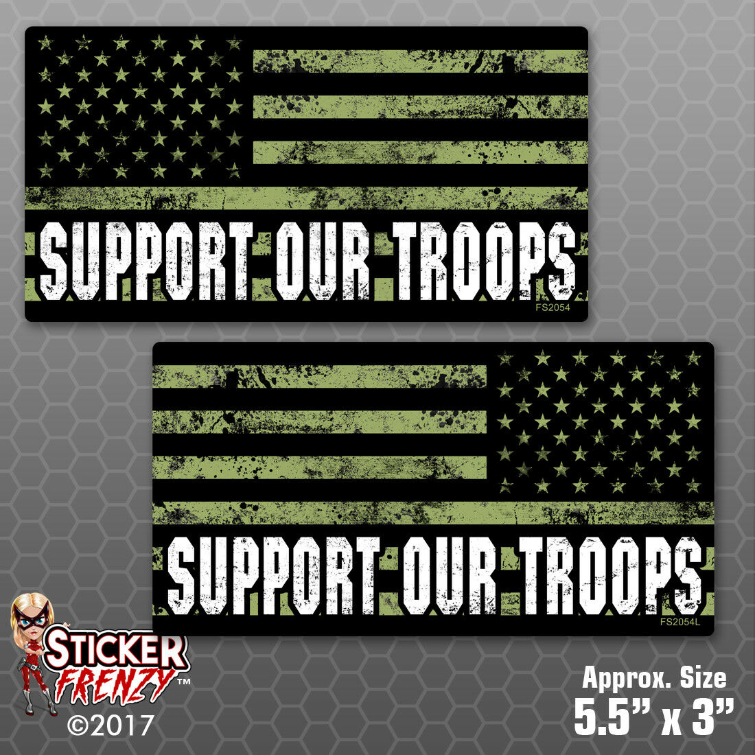 """Support Our Troops """"SUB GRUNGE FLAG MIRROR"""" 2 Pack Stickers vinyl decal FS2054LR"""
