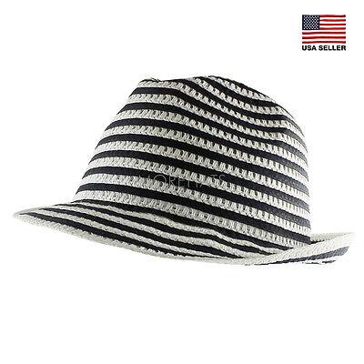 Striped Flip Up Brim Straw Fedora Trilby Summer Beach Sun Straw Panama Hat - Flip Brim Hat