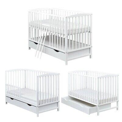 Juniorbett umbaubar 120x60 Weiß . Babybett   3x1  Kinderbett