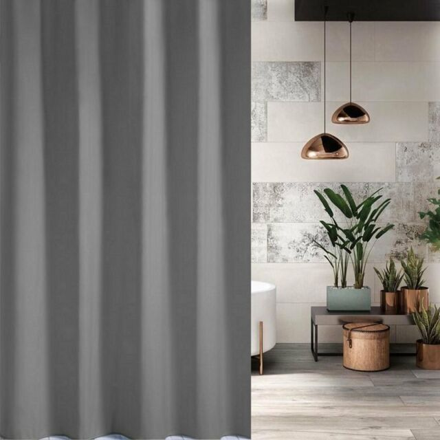 Neutral Grey Fabric Shower Curtain 2m Long New Free Shipping Clearance