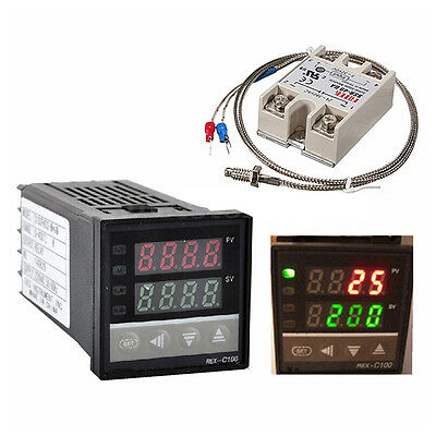 Digital 220v Pid Rex-c100 Temperature Controller 40a Ssr K Thermocouple Hkdt