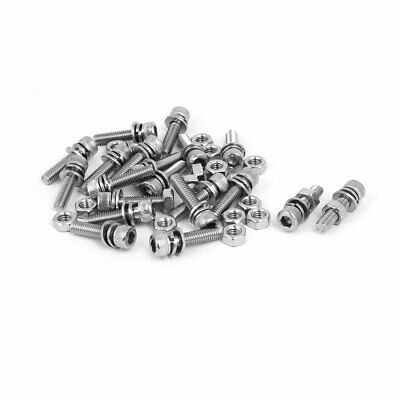 M6 X 25mm 304 Stainless Steel Hex Socket Head Cap Screws Nuts W Washers 20 Sets