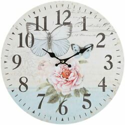 Wall Clock 13 Floral Flowers Butterflie Vintage Style Shabby Chic Farmhouse
