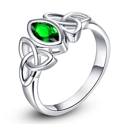 Celtic Knot Crown Jewelry Emerald Gemstone Silver Ring Size 6 7 8 9 10 11 12 13 Crown Emerald Ring