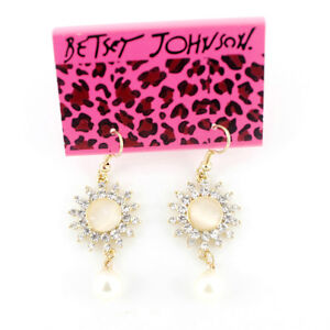 Betsey Johnson GOLD TONE EXQUISITE Crystal Flower Dangle Drop Earrings