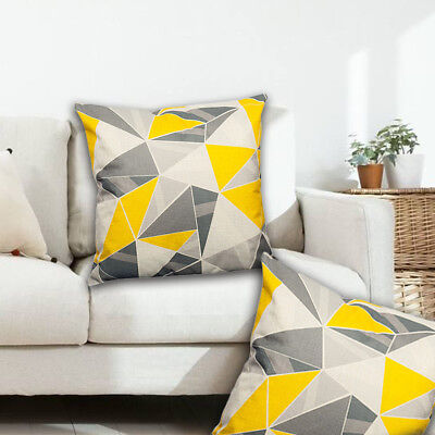 Home Decor Yellow Gray Geometric Throw Pillows Cases Striped Cushion Magnificent Gray And Yellow Decorative Pillows