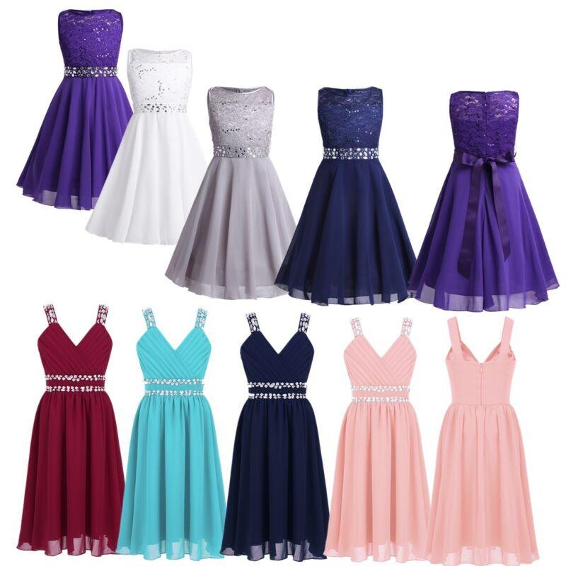 Kid Girls Sequins Rhinestone Chiffon Dress Wedding Birthday Party Casual  ClothesUSD 4.99 d9a0466665e8