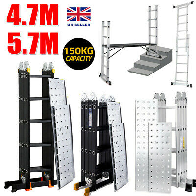 Folding Ladder Aluminium 4.7M/5.7M Ladder Multi Purpose Extendable W/Platform UK