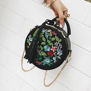 Womens-Summer-Flower-Tote-Messenger-Cross-Body-Shoulder-Round-Bag-Handbag-PY