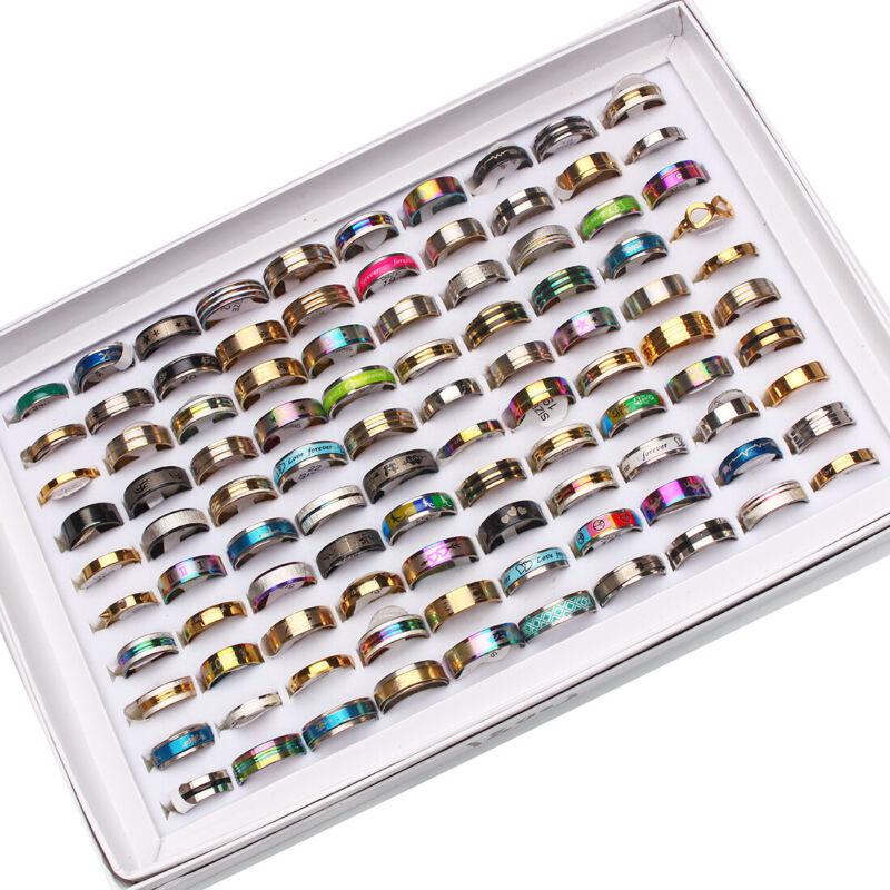 New 50pcs Stainless Steel rings Wholesale Men Women Fashion Jewelry 17-22