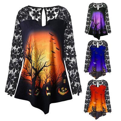 Halloween Fashion (Fashion Women Halloween Pumpkin Lace Patchwork Asymmetrical T-shirts Tops Blouse)