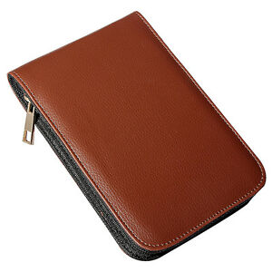 Fountain Pen Roller Brown Leather Binder Case Holder Stationery for 12 Pens W4F9