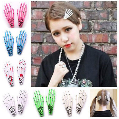 Women Skeleton Claw Hand Bone Hair Clip Hairpin Grip Zombie Rockabilly - Halloween Skeleton Hair