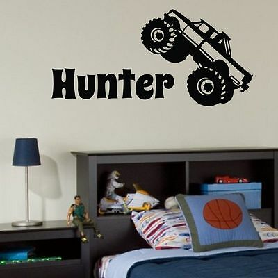 BOYS NAME MONSTER TRUCK Personalized Custom Vinyl Wall Decal Bedroom
