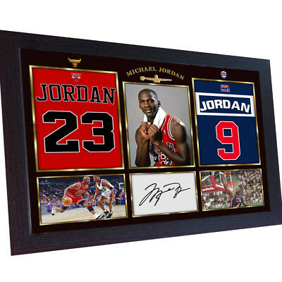 Michael Jordan NBA signed autograph Basketball Chicago Bulls Photo prinr Framed