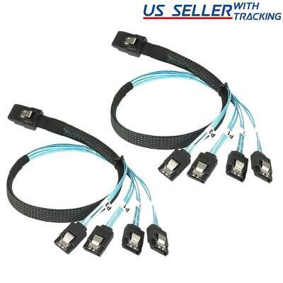 2x Mini SAS to 4-SATA SFF-8087 Multi-Lane Forward Breakout Internal Cable 50CM