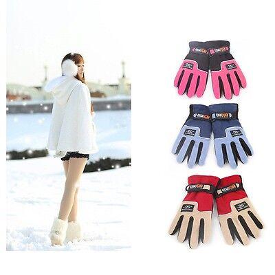 Womens Girls Warmer Winter Gloves Fleece Snowboard Ski Glove Red Pink Blue - Girls Red Gloves