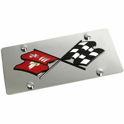 Stainless Steel Corvette C2 Retro Black Logo Color License Plate Frame -