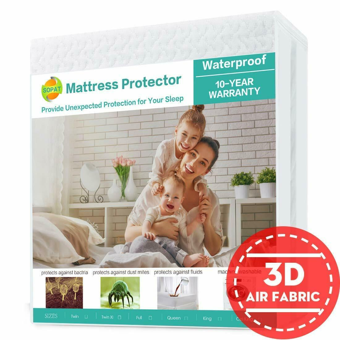 SOPAT Queen Mattress Protector 100% Waterproof Pad Cover 3D