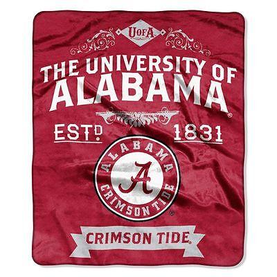 Alabama Crimson Tide Plush Throw - Alabama Crimson Tide 50x60 Plush Raschel Throw Blanket - Label Design [NEW] NCAA
