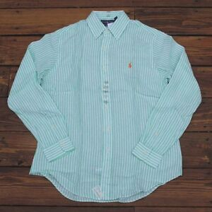 Mens Polo Ralph Lauren Long Sleeve Custom Fit Buttondown Linen Shirt S M L XL