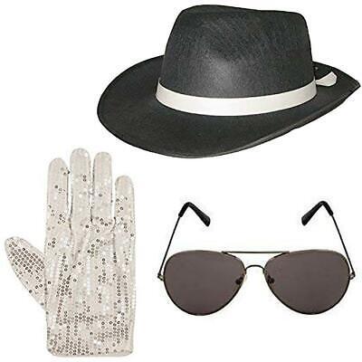 Michael Jackson Hat Glasses And Sequin Gloves Set Fancy Dress Gangster (Michael Jackson Kostüm Uk)