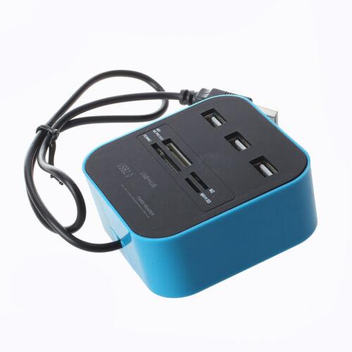 Combo Hub USB 2.0 3 porte lettore di schede MMC SD M2 MS Pro Duo Blu F5O1 X1T6