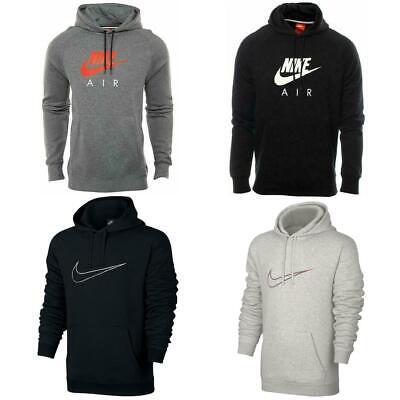Nike Mens Heritage Pullover Hoodie Black Grey Fleece Hooded Sweatshirt