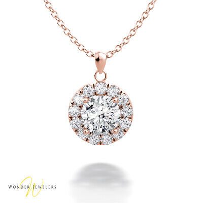 0.95ct GIA Round Diamond Halo Necklace Pendant 14K Rose Gold D/VVS1 (6301140799)