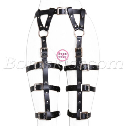 Women's Sexy Body Cage Harness Loop Belts PU Leather Leg Garters Punk Strap Band