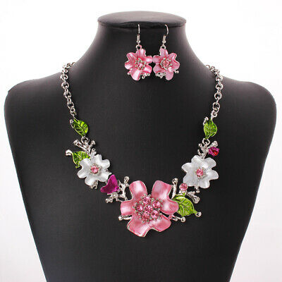 - Charm Pink Crystal Rhinestone Flower Necklace Hook Earrings Wedding Jewelry Set
