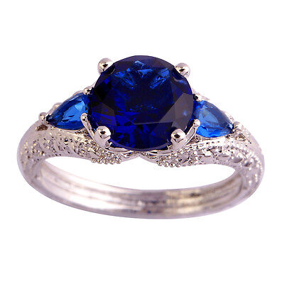 Fascinating Round Cut Sapphire Quartz Gems Silver Jewelry Ring Sz 6 7 8 9 10 11