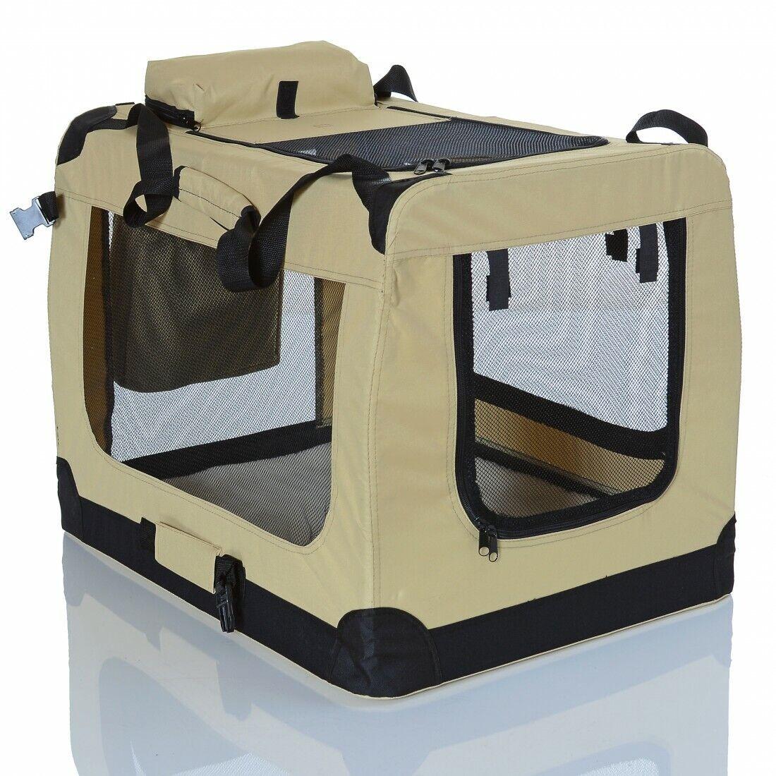 faltbare Hundetransportbox Katzen Haustierkäfig Autobox gepolsterte Tragetasche