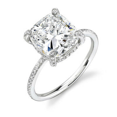 2.56ct Cushion Micro Pave GIA Unique Diamond Engagement Ring G/VS1 18K Gold