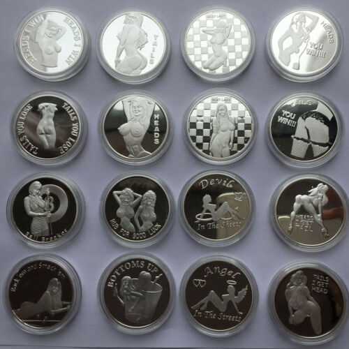 8x Heads I get Tail Tails I get Head Silver Challenge Coins Lucky Gifts