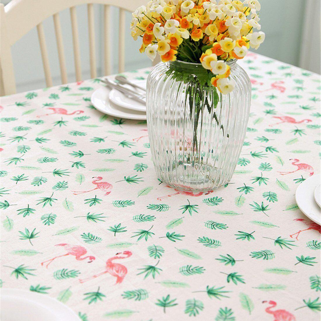 Flamingo Motiv Baumwolle Tischdecke Tischtuch Decke Küche Garten Wohnzimmer