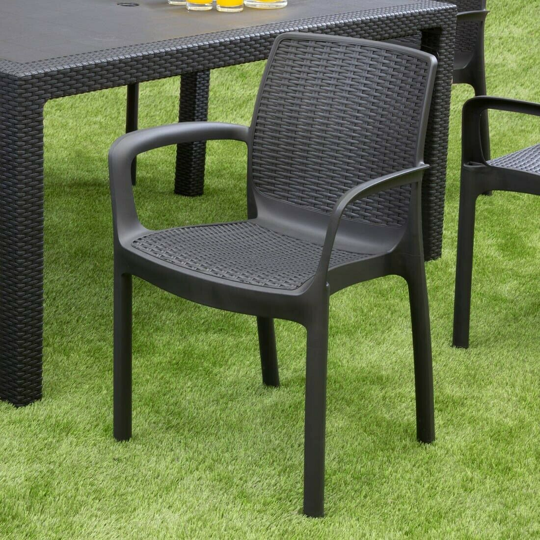 Garden Furniture - Keter Bali Outdoor Garden Furniture Stacking Chair, Graphite 4 Chairs