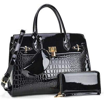 Women Handbag 3-in-1 Croco Leather Medium Satchel With Matching Wallet