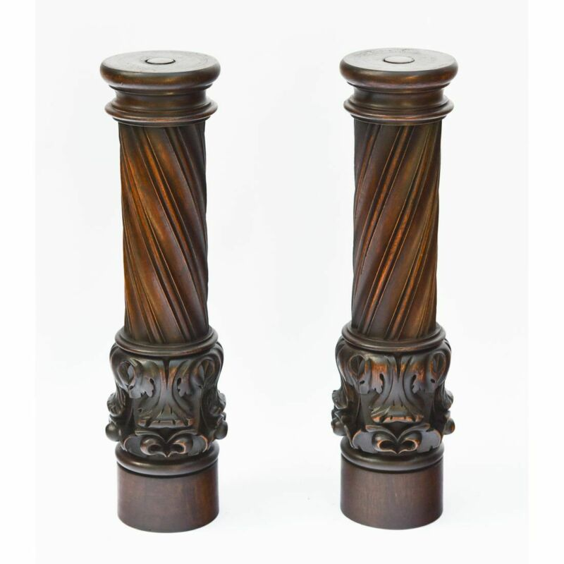 Antique Pair of French Carved Walnut Gothic Fluted Architectural Pillars