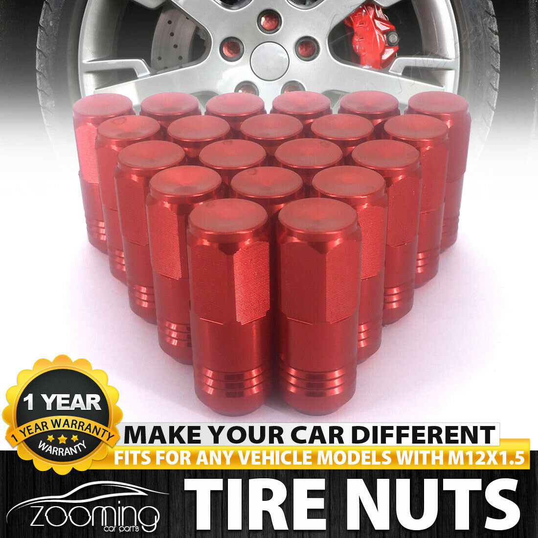 24 PC RED LUG EXTENDED RACING LUG NUTS FOR TIRES//WHEELS//RIMS 50MM 12X1.5 A